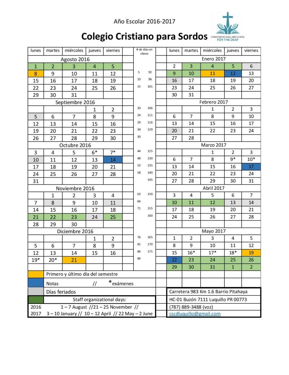 Calendar - school year 2016 17